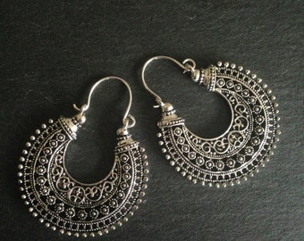 Tribal earrings, Boho Earrings, Ethnic earrings, Bohemian earrings, Gypsy earrings, Silver dangle earrings