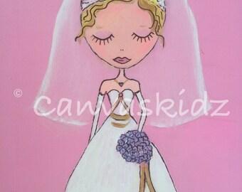 "Baby girl nursery decor, girls nursery art, girls wall art,  fairy art, 8 x 10, 11 x 14, print, ""Pink and white bride"" by Canvaskidz"