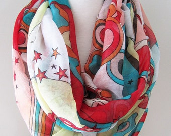 Multi color Infinity Scarf with abstract art patterns - Long and light weight for spring, summer and fall