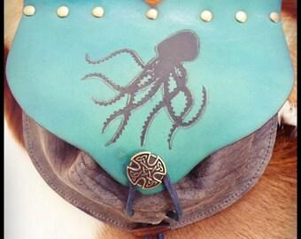 Escarcelle octopus - pflanzlich gegerbtem Leder