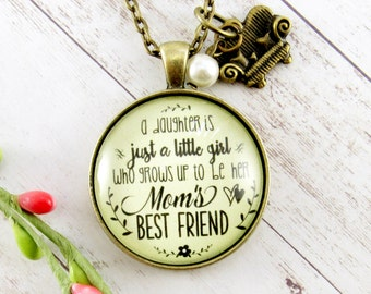 Mom From Daughter A Daughter is Just a Little Girl Thank You Mom Mother Daughter Necklace Mother Birthday Gifts