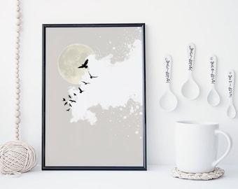 zen abstract sky art print, bird wall art, moon illustration, cloud art, home wall decor, apartment wall art, wall decor, poster, prints