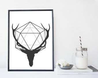 Deer art print, black and white deer print, home wall decor, modern print, modern wall art, apartment design, nature, minimal simple print