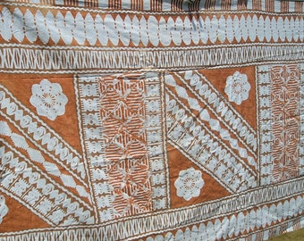 Vintage Hawaiian Barkcloth Tiki Fabric The Hawaiian Textiles #10541