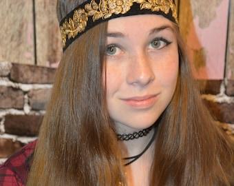 India Black and Gold Embroidery Ribbon Headband