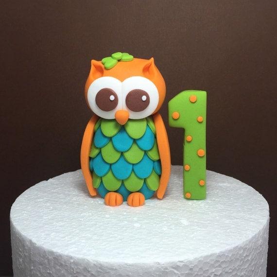 Edible Cake Image Owl : Fondant Owl Cake Topper. Owl First Birthday. Edible Owl Cake