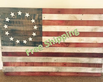 Rustic American Flag Constructed from Reclaimed/Repurposed Wood (Free Shipping)