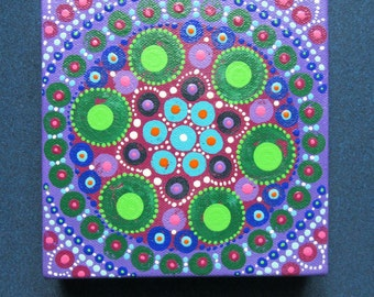 Mandala original art on canvas, small painting, 15x15 cm 6x6 inches, contemporary spiritual artwork, art for the home