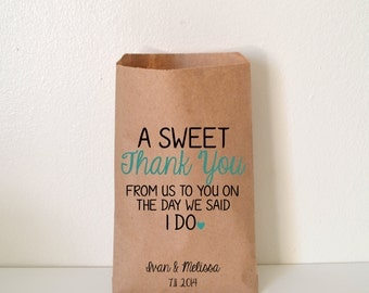 Wedding Favor Bag, A Sweet Thank You Candy Buffet Bag, Favor Bag, Personalized Wedding Favor Bag, Treat Bags, Custom Favor Bags, WNW001