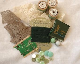 Vintage Sewing Kit - Green