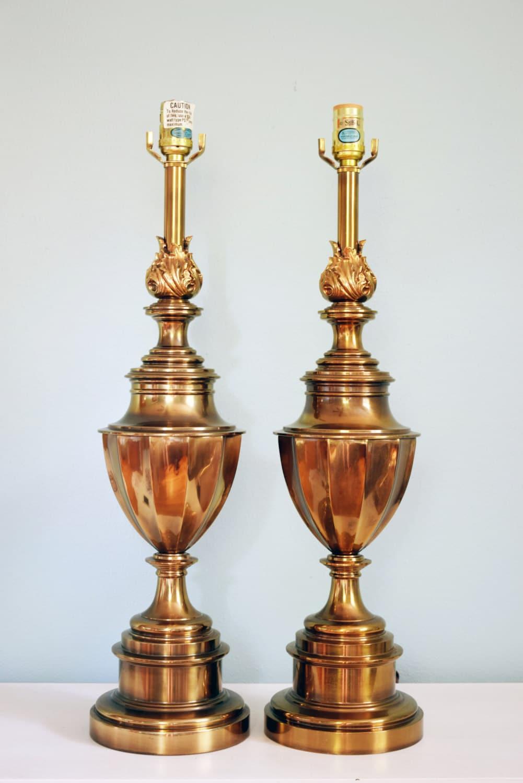 Vintage Stiffel Brass Trophy Lamps Pair