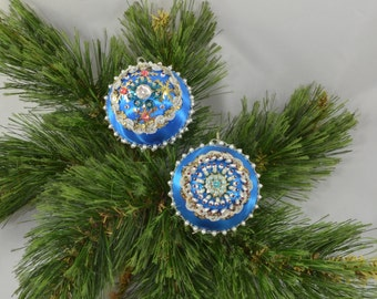 Vintage Blue Satin Sequin Christmas Ornaments