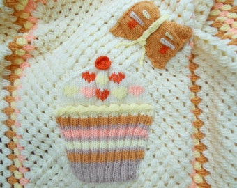Cupcake Butterfly Baby girl blanket/  baby gift. Nursery bedding. Crochet baby blanket / crochet baby afghan/ picture blanket. cream & peach