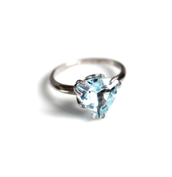 topaz ring blue topaz ring triangle ring promise by