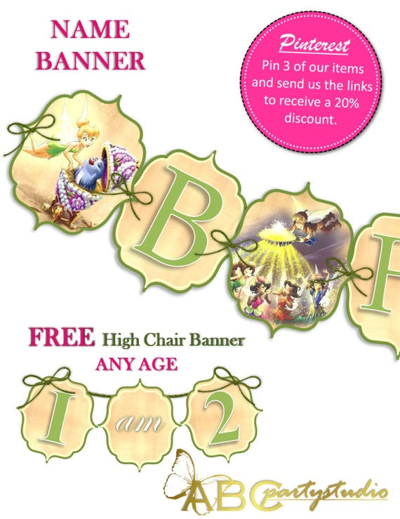 Tinkerbell Custom Banner Name Party