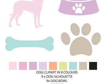 Dog Clipart, Dog Silhouette Clip Art, Paw Clipart, Bone Clipart, Dog Bowl Clipart, Pastel Clipart, Dog Digital Elements, Digital Scrapbook