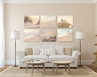 Perfect Coastal Wall Art, Shabby Chic Beach Decor SET Of SIX Prints Or Canvases,  Neutral