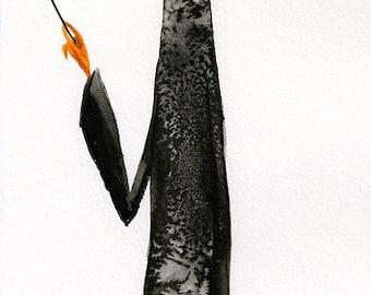 "Halloween Wizard 17"" x 5.5"" Signed Watercolor Art Print by Rhode Montijo"