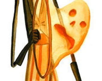"Halloween Circus Ringleader 17"" x 5.5"" Signed Art Print by Rhode Montijo"