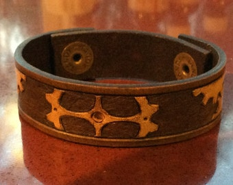 Hand Tooled Steampunk Leather Bracelet