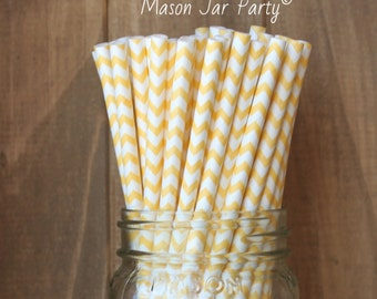 Yellow Paper Straws, Paper Straws, Yellow Chevron Straws, Yellow Party Supplies, Wedding, Baby Shower, Birthday, Cake Pop Sticks Made in USA
