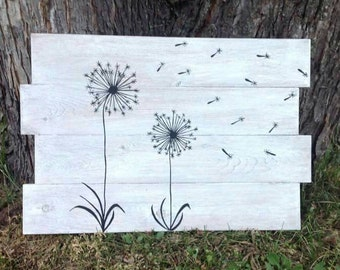 Dandelion Wall Art - Dandelion Wall Decor - Wish Flower Wood Sign - Dandelion Painting - Whimsical Wall Art - Make a Wish