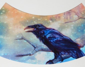 Snowy Raven Wine glass lampshade