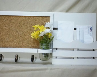 Entryway Organizer - Mail Organizer - Cork Board - Dryerase - Wood - Chalk Board - Mail Holder - Letter Holder - Message Center