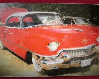 Vintage Red Car Photo Transfer on Canvas