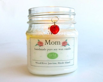 Mother's Day Soy Wax Candle Mason Jar Scented Natural Orla Soy Candle Rhode Island Eco Friendly
