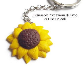 Sunflower Keychain poliymer clay fimo: sunflower keychain, flower keyring, summer sunflower, sunflower accessories, ideas gift for her
