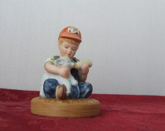 Limited Edition Country Store, Little Farmers, Little Boy Bottle Feeding Baby Lamb, Country Store, Little  Farmers Figurine, Limited Edition