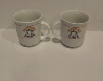 2 Diner Coffee Mugs, Sunrise Diner Coffee Cups, 2 Vintage Coffee Mugs, Gift for Couple, Cottage Chic Cups, Kitchen Drink ware, Ceramic Mugs
