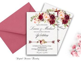 Burgundy Wedding Invitation Printable Boho Wedding Invitation Suite Romantic Wedding Invitation Rustic Wedding Invitation Marsala Floral