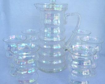 Rare Vintage Dunbar Flint Carnival Glass Pitcher and Glasses