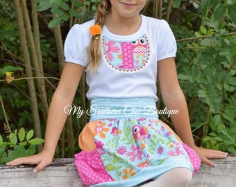 Girls pocket bubble skirt- Owl skirt and shirt- Girls boutique skirt