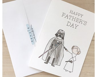 Starwars Fathers Day Card // darth vader card, darth vader greeting card, leia greeting card, Leia skywalker card, watercolour skywalker