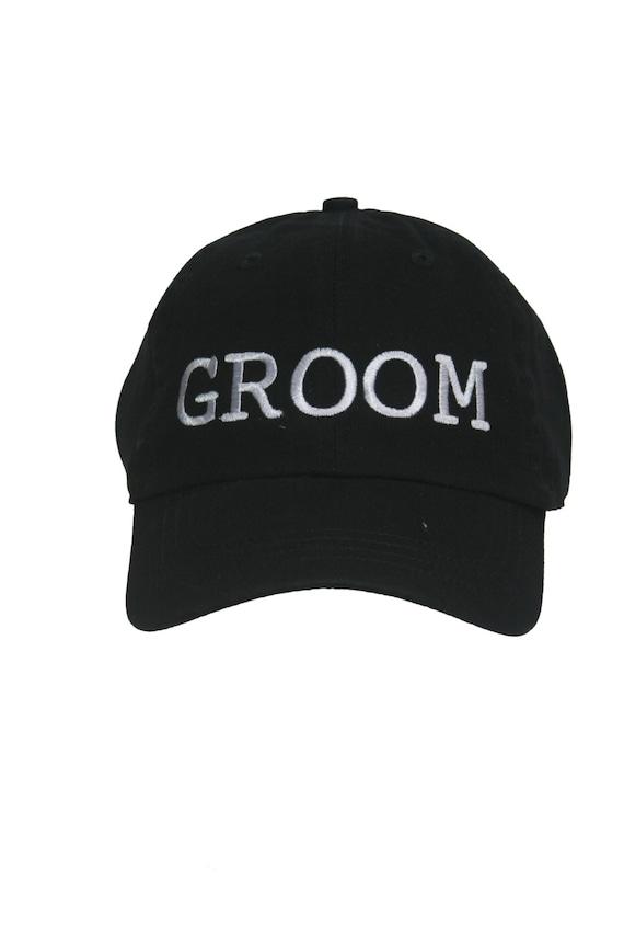 GROOM - Ball Cap (Black with White Stitching)