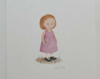 Original Illustration of a cute girl in pink dress.