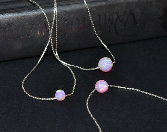 Opal Necklace, Silver opal ball necklace, Dot necklace, Drop opal necklace, Bridal necklace, Pink Opal charm necklace, Opal bead necklace