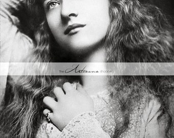 Digital Download Printable - Maude Fealy Portrait Antique Photograph - Paper Crafts Scrapbook Altered Art - Beautiful Woman Black and White
