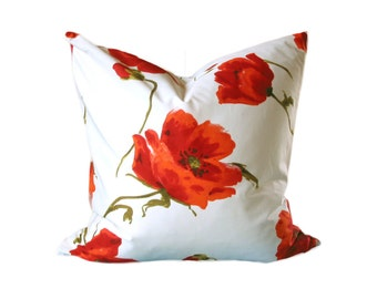 Poppy ~ Pavot ~ cotton ~ floral print ~ cushion cover ~ pillow cover ~white ~ green ~ red ~ flower