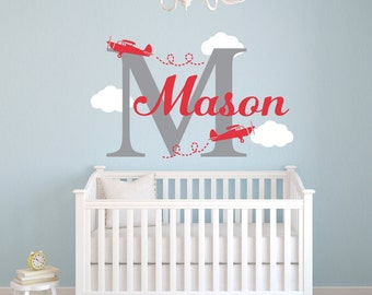Airplane Name Wall Decal - Nursery Wall Decal - Personalized Name Decal Airplanes - Boy Name Monogram Vinyl Wall Decal