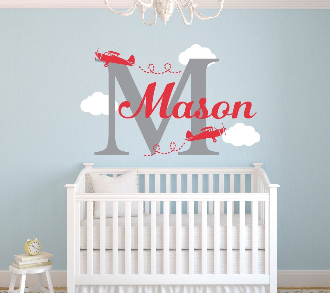 Name Wall Decals For Nursery Tags: Airplane Name Wall Decal Nursery Wall Decal Personalized