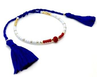 Adjustable Bracelet Friendship Bracelet Tassel July 4th Bracelet Patriotic Bracelet Cord Bracelet, American Flag Bracelet, Gift for her