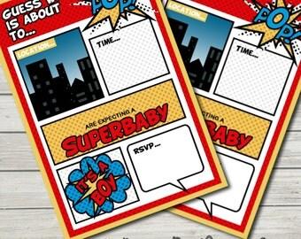 Superhero Baby Shower Invitations Printable (Editable). Baby Boy.