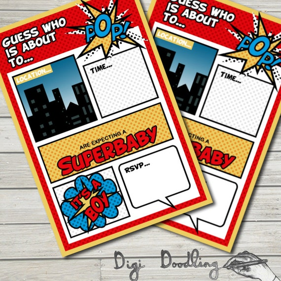 superhero baby shower invitations printable editable. baby, Baby shower invitations