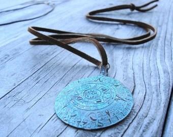 Long leather Maya Calendar Necklace