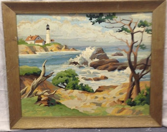 Paint By Number Oil Framed, Landscape Seascape Light House Waves Scene Vintage Retro