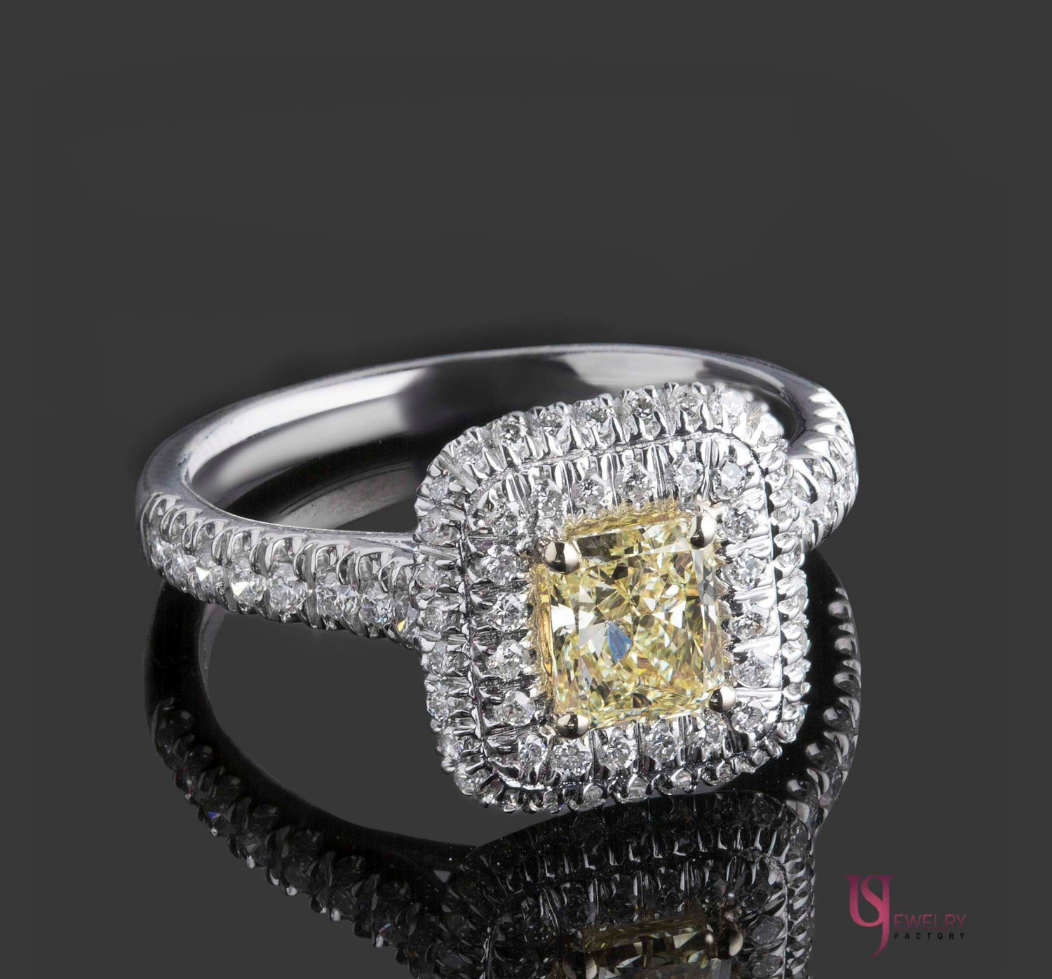 Engagement ring christmas ornament - Natural Fancy Yellow Diamond Radiant Cut Engagement Ring 1 34 Tcw Double Halo Diamond Ring